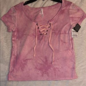 pink tie dye short sleeve top from zumiez
